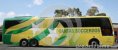 Nationellt fotbolllag för australiensisk buss Redaktionell Fotografering för Bildbyråer