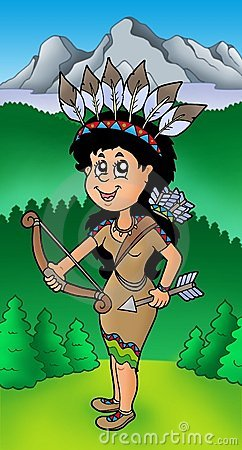 Native American Indian girl on meadow