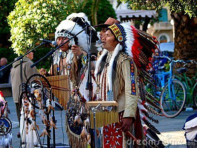 Native American Indian  group play music Editorial Photography