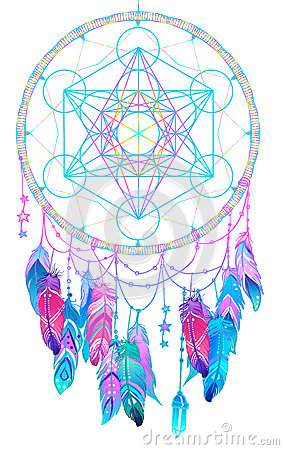 Free Native American Indian Talisman Dream Catcher With Metatrons Cub Royalty Free Stock Photos - 93021548