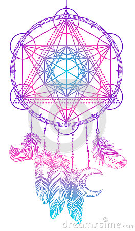 Free Native American Indian Talisman Dream Catcher With Metatrons Cub Stock Photo - 93029750