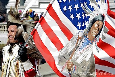 Native American Man protests in Madison Wisconsin Editorial Image