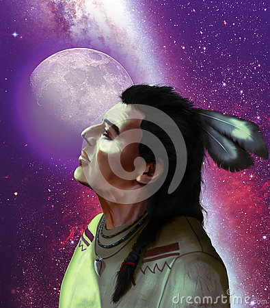 Native american and moon