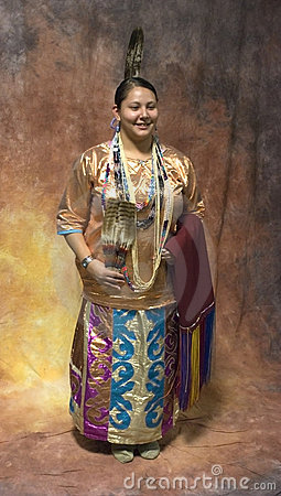 Native American Woman in full Traditional Dress Editorial Stock Image