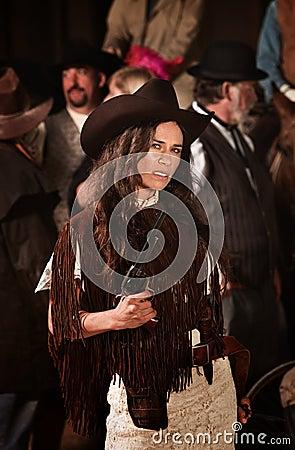 Native American Woman with Gun