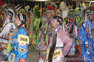 Native Americans Promenade During Pow Wow Ceremony Editorial Stock Photo