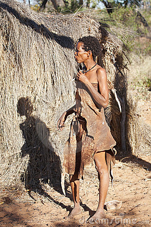 Native bushmen in Kalahari Desert, Namibia Editorial Photography