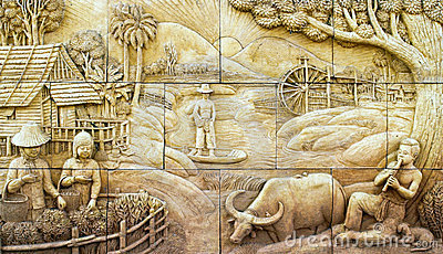 Native culture Thai stucco on stone wall