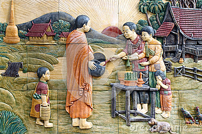 Native culture Thai stucco on the temple wall