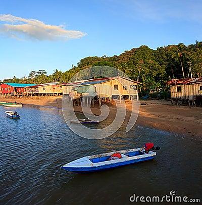 Native houses bye the sea, Sabah, Malaysia
