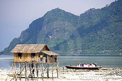 Native Hut and House Boat