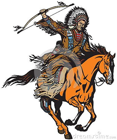 Free Native Indian Chief Riding A Pony Horse Stock Photography - 119423232