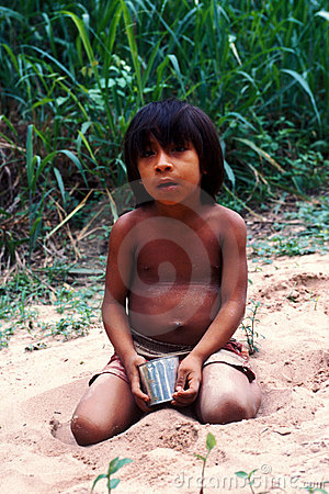 Native indian child Awa Guaja of Brazil Editorial Image