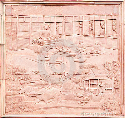 Native Thai art on low relief sculpture