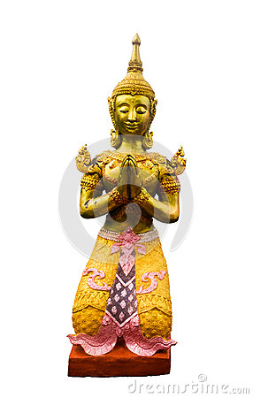 Free Native Thai Style Angel Statue On White Background.the Clipping Royalty Free Stock Photography - 98554927