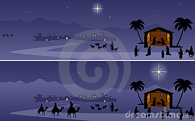 Nativité de Noël de drapeaux