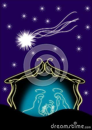 Nativity of Jesus Christ in a stylized version