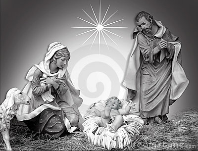 Nativity Christmas black and white