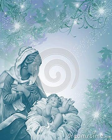 Free Nativity Christmas Card Religious Blue Stock Image - 10811321