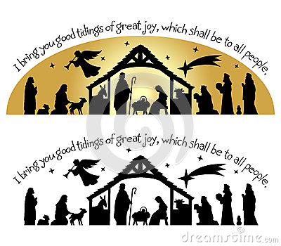 Calligraphy Christmas bible verse with nativity silhouette...I bring ...