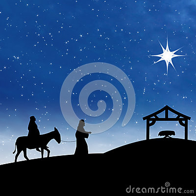 Free Nativity Jesus Birth With Star On Blue Night Scene Royalty Free Stock Photo - 27688255