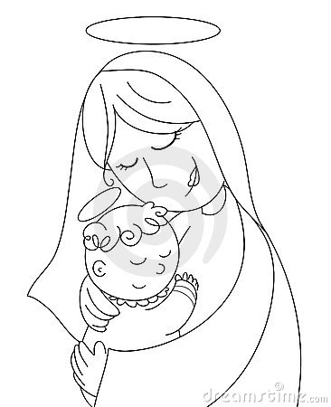 Nativity: Mary and baby Jesus bw