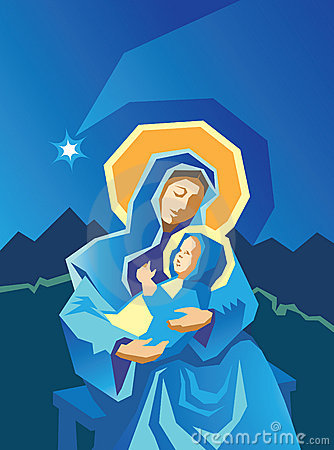 Stock Photo: Nativity Mary and Baby Jesus Woodcut. Image: 16916550