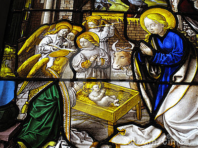 The Nativity medieval 16th century stained glass w