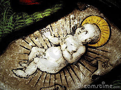 The Nativity medieval stained glass window
