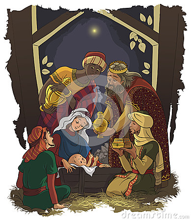 Nativity scene Jesus, Mary, Joseph and Three Kings