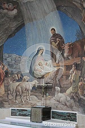 Nativity Scene in Shepherds Field Church, Bethle