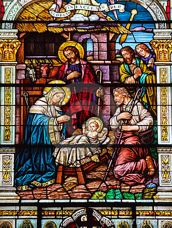 Free Nativity Scene Stained Glass St Peter Paul Church Stock Image - 23907981