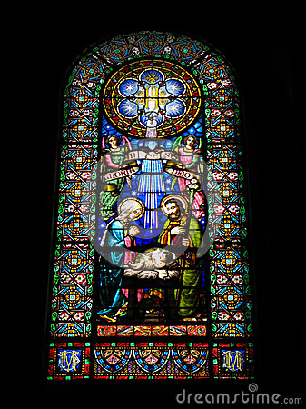 Free Nativity Scene. Stained Glass Window In The Monastery  Montserrat, Spain. Stock Image - 50554691