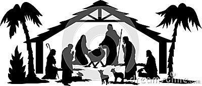 Nativity Silhouette/eps Vector Illustration