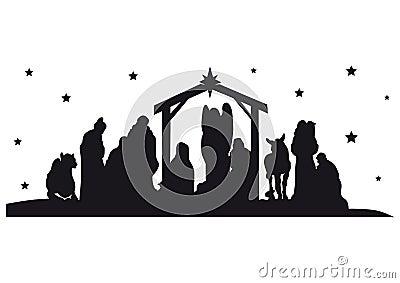 Nativity Silhouette Stock Photo