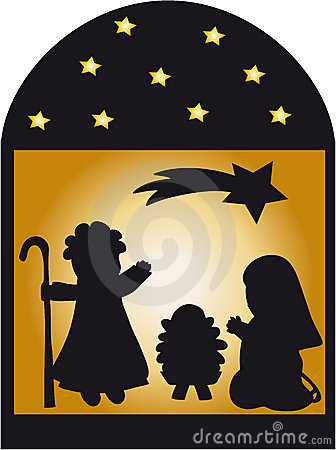 Nativity Silhouette And Stars