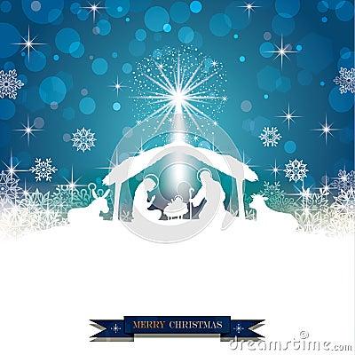 Nativity silhouette White Vector Illustration