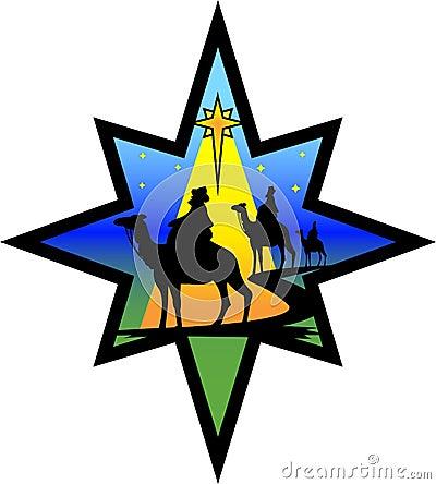 Nativity Wisemen Star Silhouette/eps