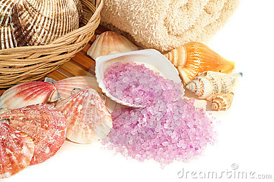 Natural Aromatherapy Bath Sea Salts with Seashells