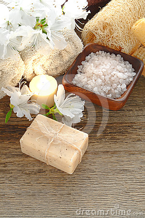 Natural Aromatherapy Bath Soap and Salts in a Spa