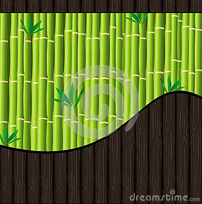 Natural background with bamboo and wood