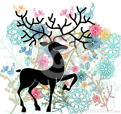 Natural background with deer, flowers and bird