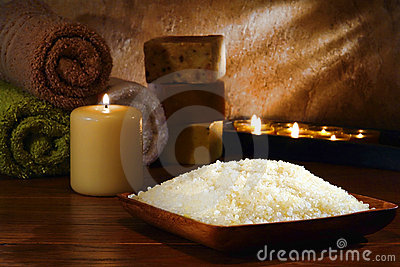 Natural Bath Sea Salts in a Relaxation Spa