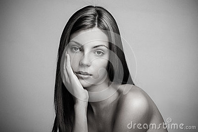 Natural beauty woman in bw