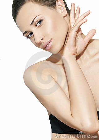Natural beauty women in white background