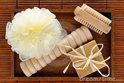 Natural Body Care Spa Accessories in a Wood Tray