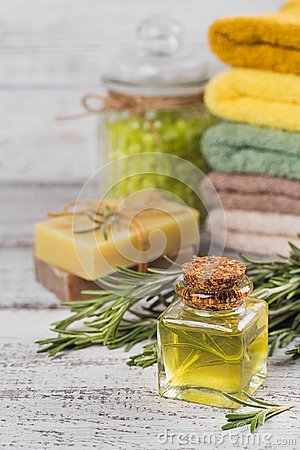 Free Natural Cosmetic Oil And Natural Handmade Soap With Rosemary On Stock Photography - 103093382