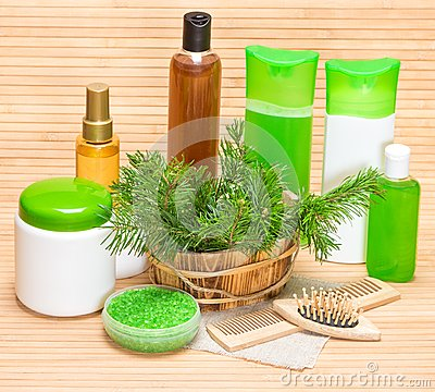 Free Natural Cosmetics And Accessories For Hair Health And Beauty Stock Image - 53097221