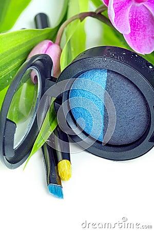 Natural cosmetics: eyeshadows and makeup brushes