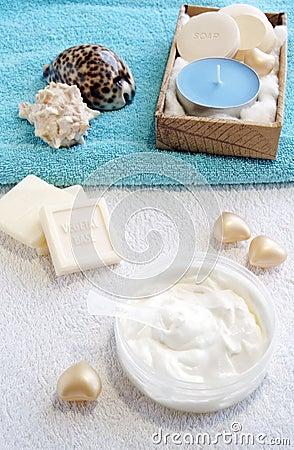Natural cream-scrub for face care treatment